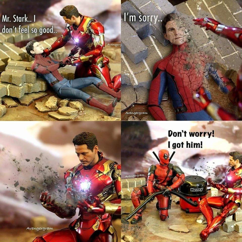 Today's Photo - April 20, 2019 (via @tom.thewalkingmeme) : Deadpool saves the Avengers from Thanos' Decimation - サノスが指パッチンを決行するやいなや、機転を利かせて、アベンジャーズを救っていた、お手柄のデッドプール ! !