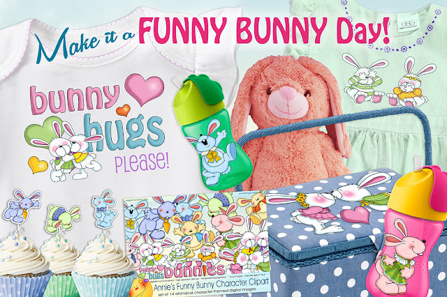 You'll find Annie Lang's whimsically Funny Bunny clipart characters and more at Creative Market!