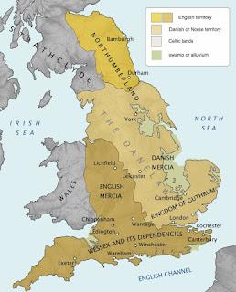 Mapa de Inglaterra bajo dominio vikingo - Danelaw