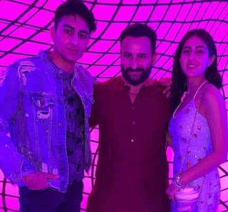 Sara Ali Khan With Her Father & Brother