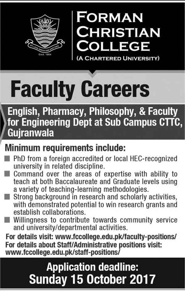 Jobs In Forman Christian College Gujranwala Campus October 2017