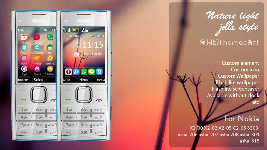 Nature Light Jolla style theme Nokia X2-00, X2-02, X2-05, C2-05, 6303i, asha-206, asha-207, asha 208, asha-301, asha-515