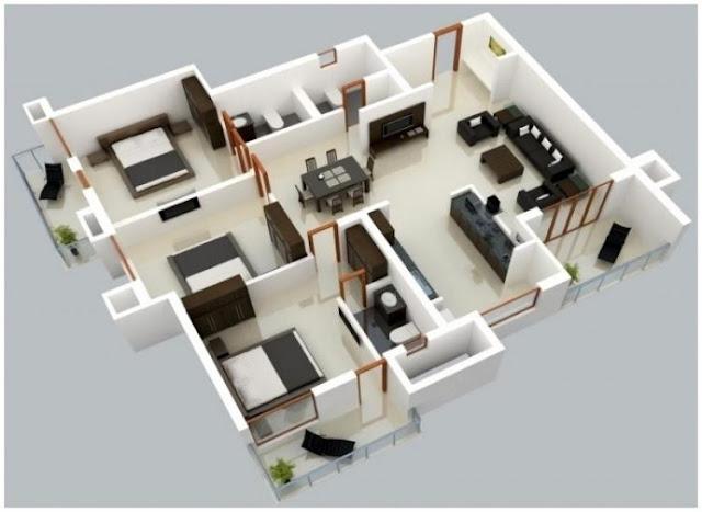 house plans 3 room model l