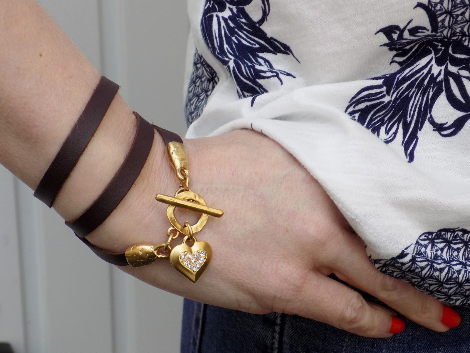 Danon leather wrap bracelet with swarovski heart
