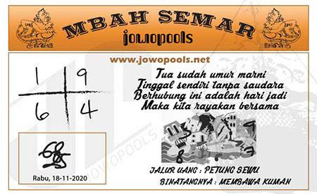 Syair Mbah Semar SGP Rabu 18 November 2020