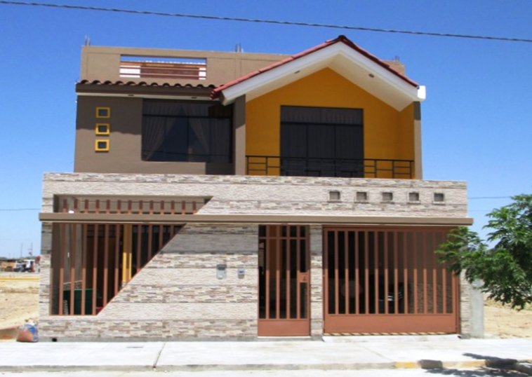 Fachadas y casas casas con frentes de seis metros for Fachadas de casas modernas de 6 metros