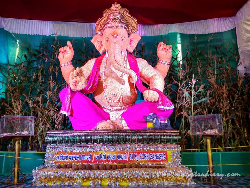 Eco Friendly Creative Ganesha made with 51 kg corn, Ganesh Chaturthi Mumbai
