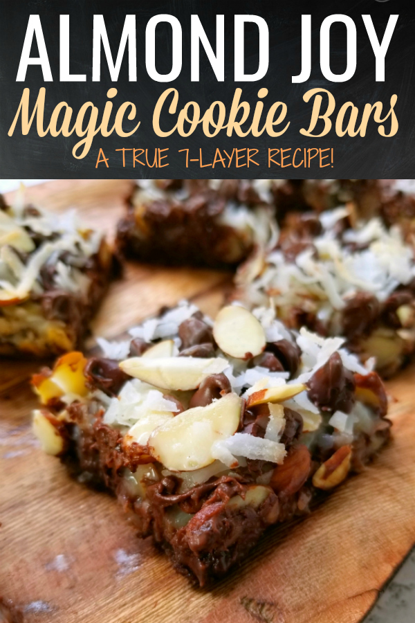 Almond Joy Magic Cookie Bars! A true spin on the original classic recipe for Seven Layer Hello Dolly Magic Cookie Bars (or whatever your family calls them!) with almonds, chocolate chips, coconut and chocolate graham cracker crumbs that Almond Joy fans will love!