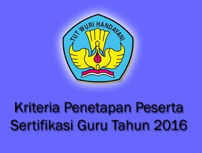 Kriteria Penetapan Peserta Sergur tahun  Kriteria Penetapan Peserta Sergur (Sertifikasi Guru) Tahun 2016