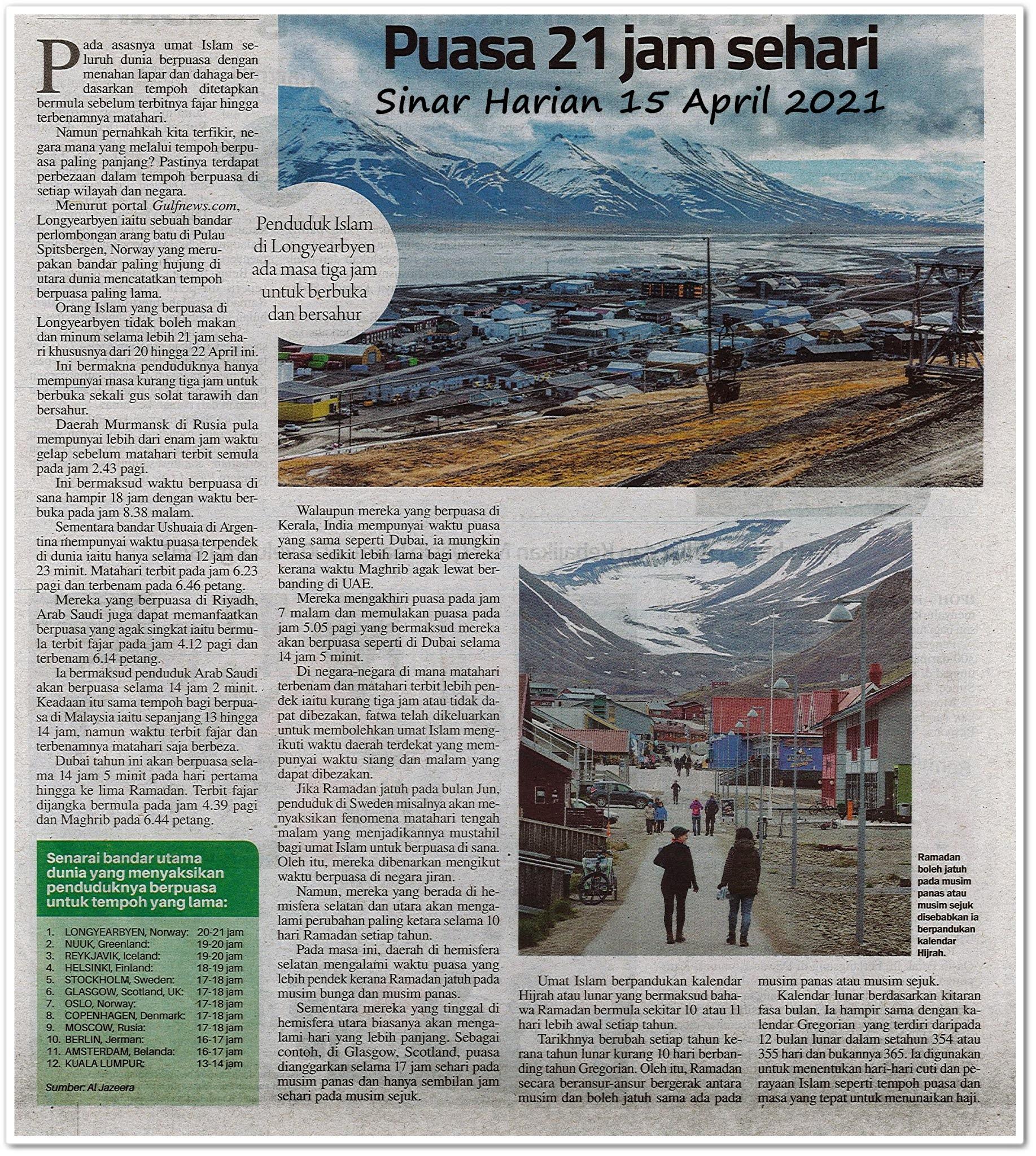 Puasa 21 jam sehari - Keratan akhbar Sinar Harian 15 April 2021