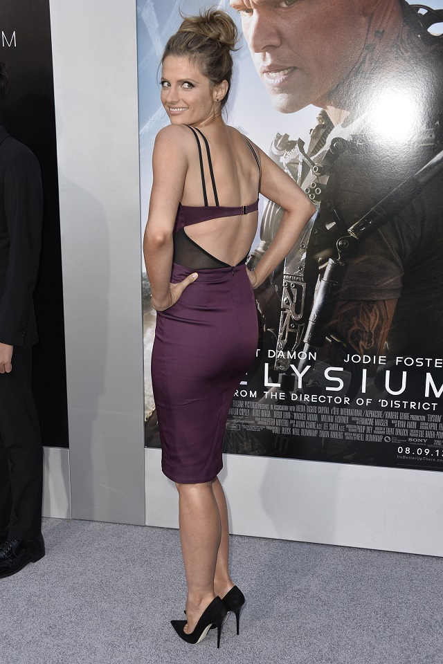 Stana Katic Wears A Purple Bustier Dress At The Elysium
