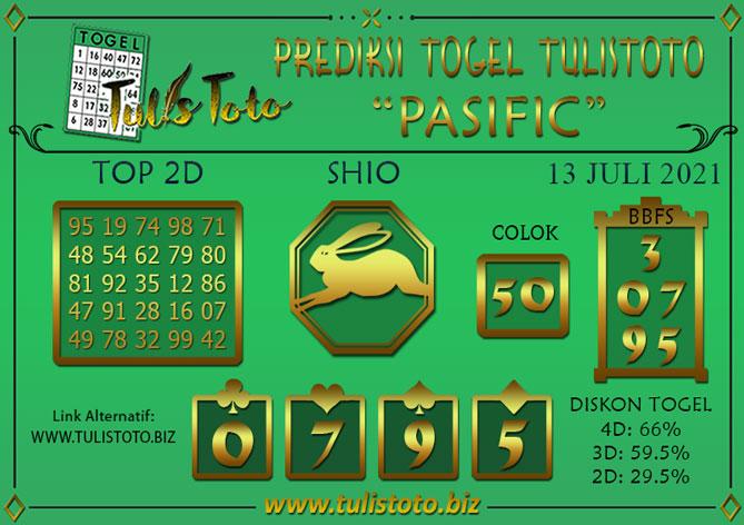 Prediksi Togel PASIFIC TULISTOTO 13 JULI 2021