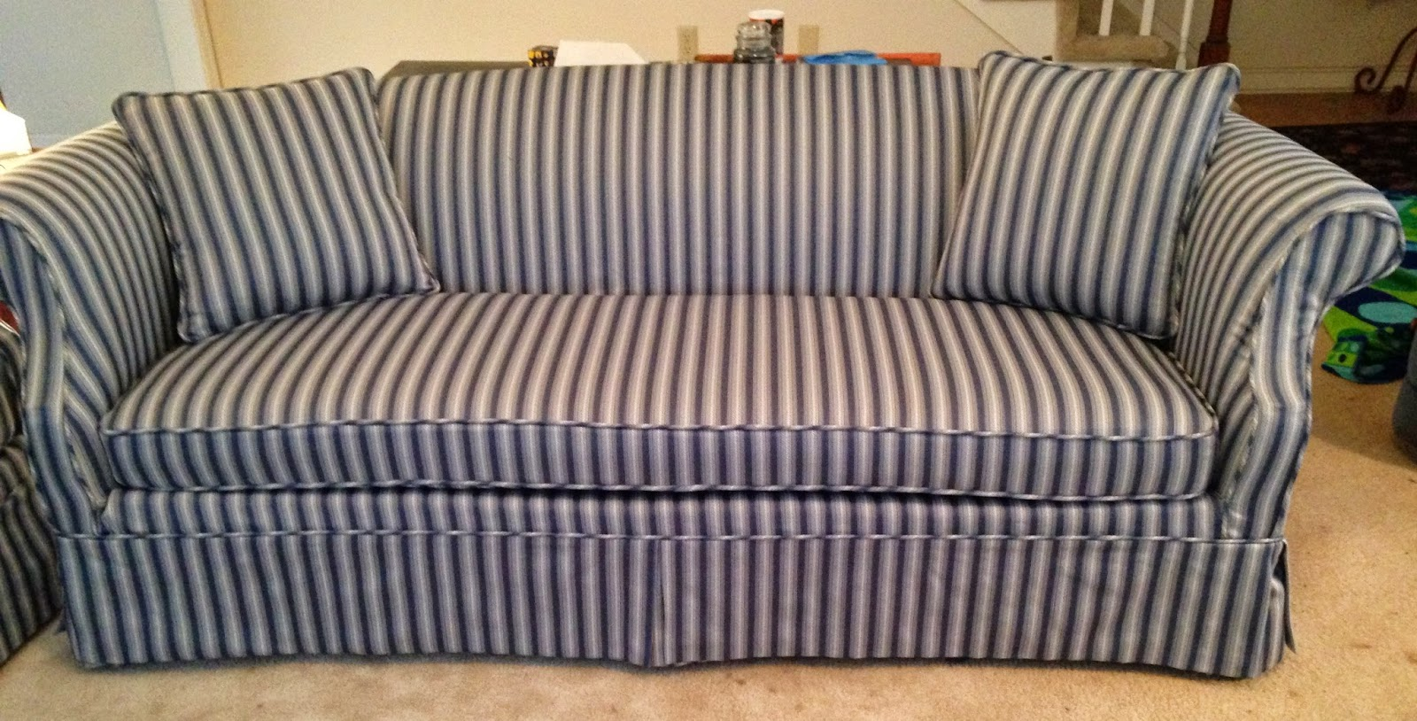 Blue And White Striped Chair Pam Morris Sews Striped Traditional Sofa And Loveseat
