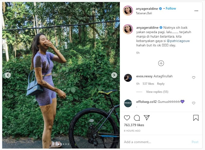 Anya Geraldine Bikin Heboh Karena Jatuh Dari Sepeda,  Warganet Gagal Fokus ke Outfitnya