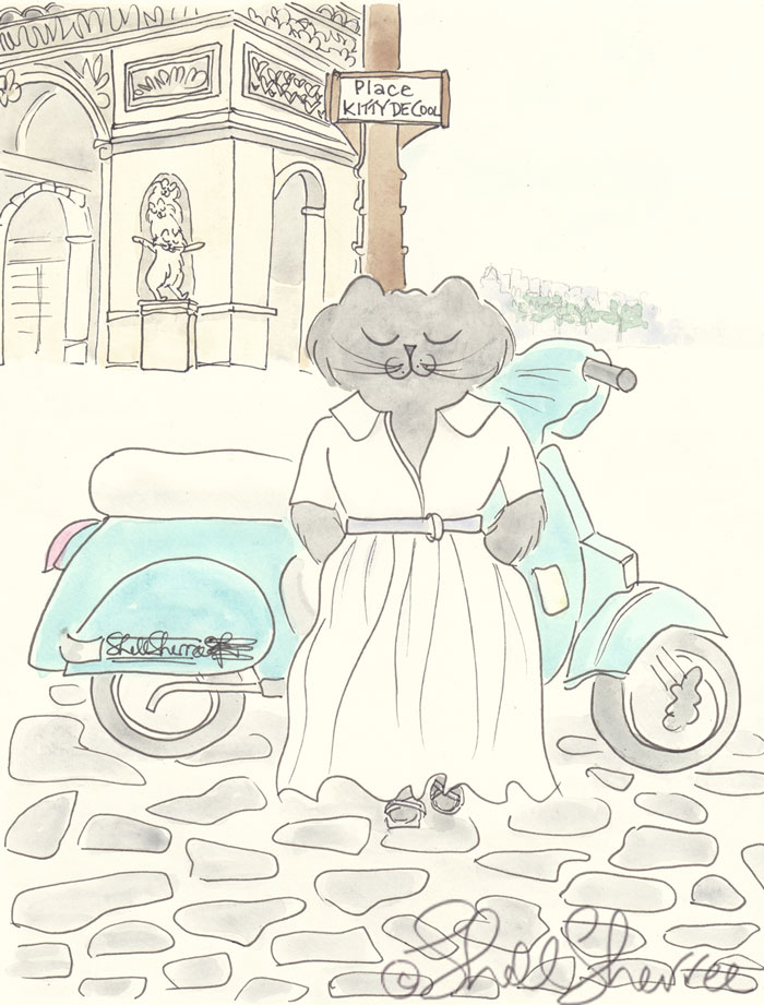 Ella's Roman Holiday in Paris illustration © Shell Sherree all rights reserved