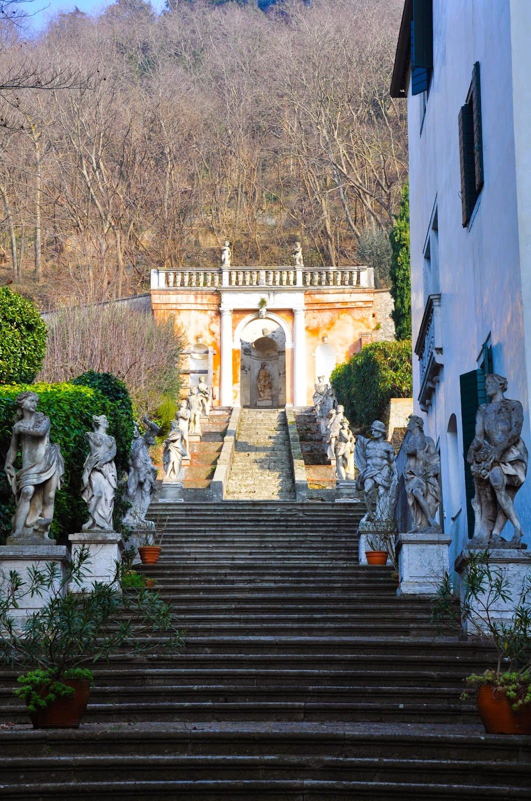 The stairs of the Villa dei Nanni in Monselice, Euganean Hills, Veneto, Italy - www.rossiwrites.com