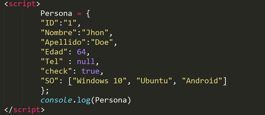 tipos de datos disponibles en JSON