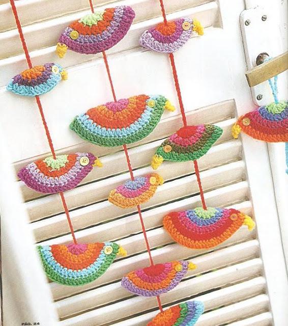 Patrón #1282: Colgante de Pajaros a Crochet