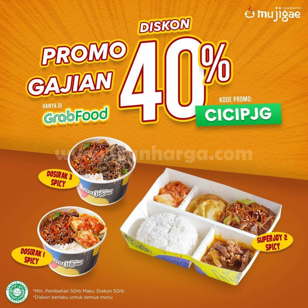 MUJIGAE Promo GAJIAN – DISKON 40% All Menu via GRABFOOD