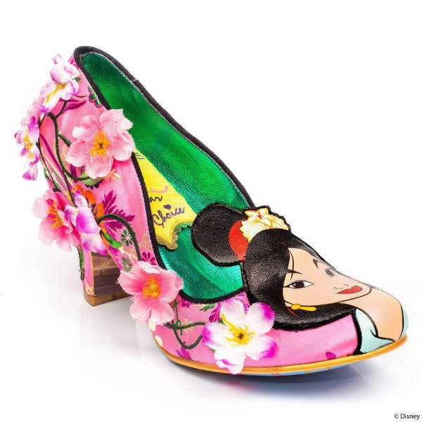 pink floral court shoe with flower embellishments and Mulan face on toe