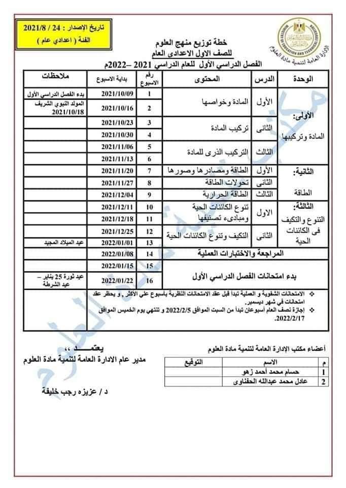 توزيع منهج العلوم للصف الأول الاعدادي العام الدراسي 2021 / 2022 5