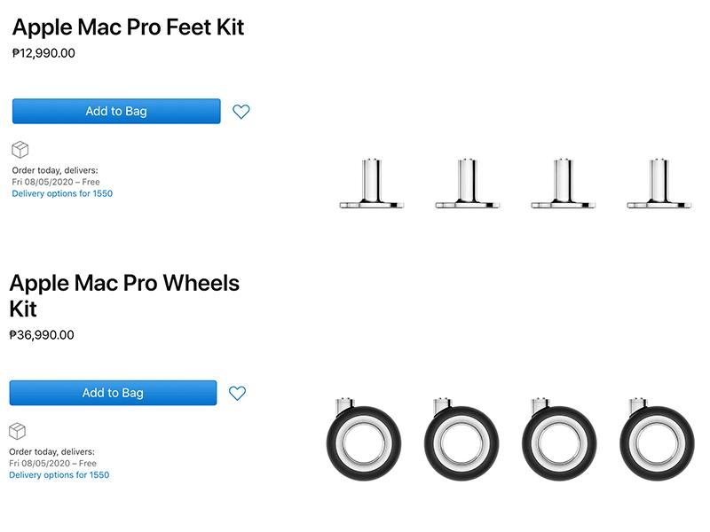 Apple website listing