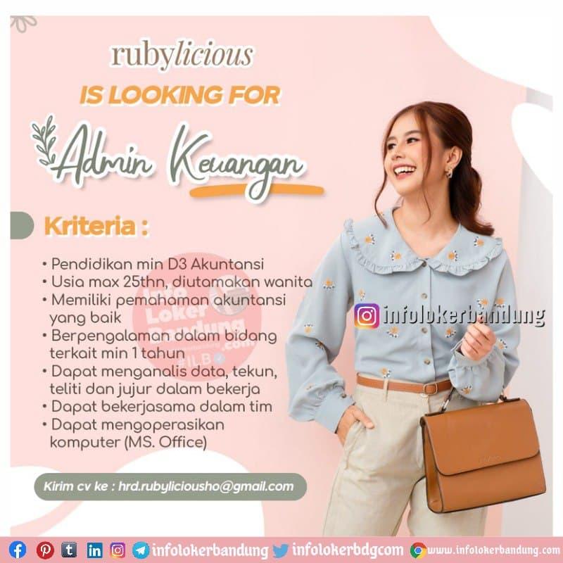 Lowongan Kerja Admin Keuangan Rubylicious Bandung Juni 2021