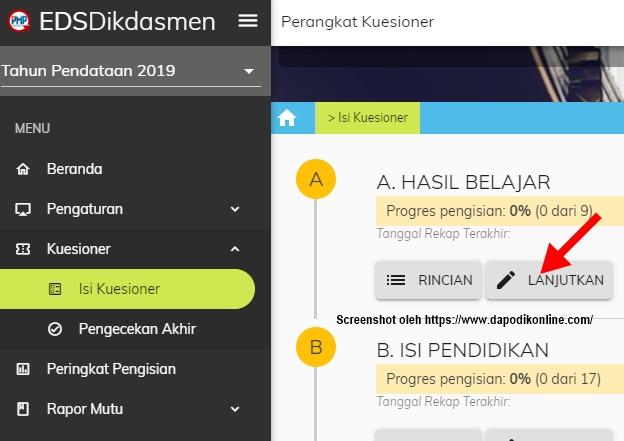 Lanjutkan mengisi kuesioner PMP Kepala sekolah secara online