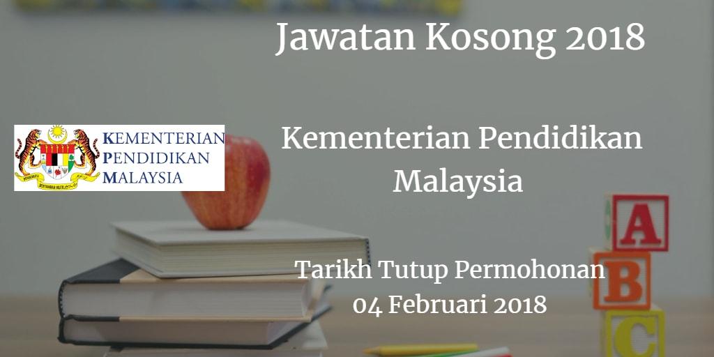 Jawatan Kosong KPM 04 Februari 2018
