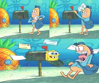 Polosan meme spongebob dan patrick 135 - tukang pos terkejut dengan spongebob yang bersembunyi di kotak pos