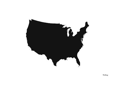 Black Maps USA of the United States of America