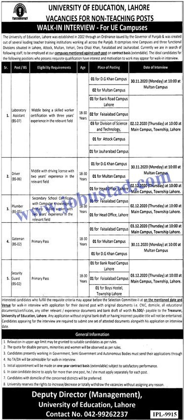 Jobs in University of Education Lahore Nov 2020