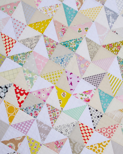 Modern Half Square Triangle Baby and Toddler Quilt | Red Pepper Quilts