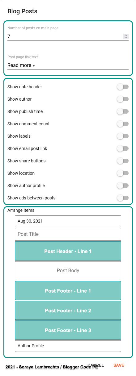 BlogPosts gadget control panel