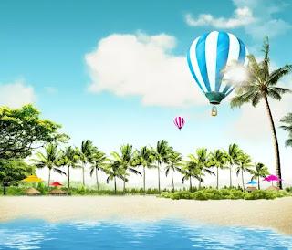plantilla de fondo de paisaje de playa para fotomontajes