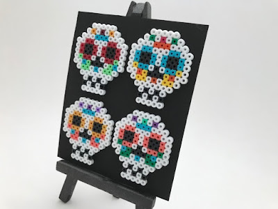 Hama bead sugar skull picture for Halloween