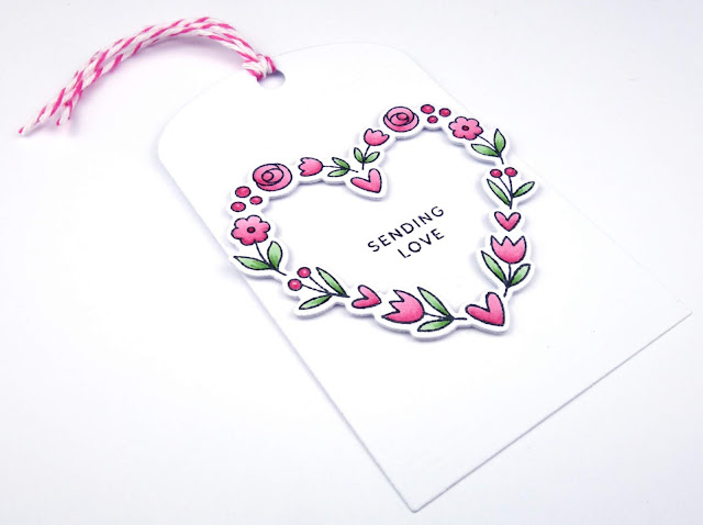 Handcrafted cards and tags with pretty floral wreath (stamps/dies are Floral Hearts by Pretty Pink Posh)