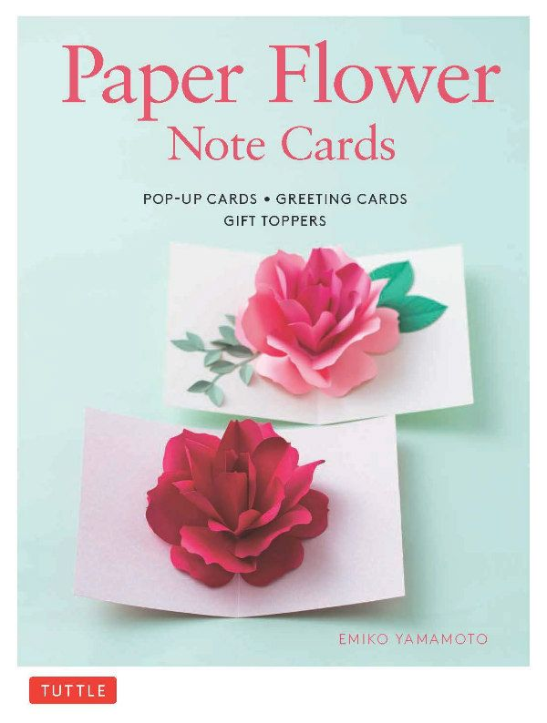 Paper Flower Note Cards book cover features two pop-up floral cards, one red rose, one pink rose
