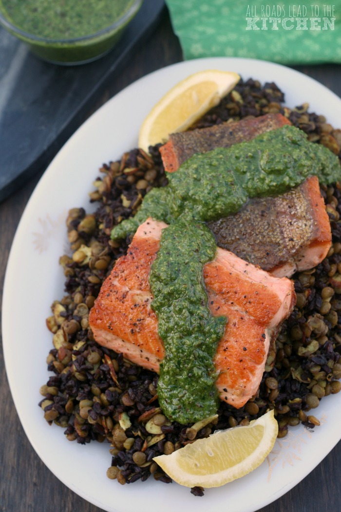 Pan-Seared Salmon w/ Mixed Greens Pesto & Lentil Black Rice Salad