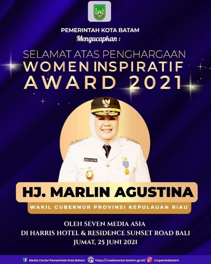 Walikota Batam Ucapkan Selamat Kepada Wagub Kepri Yang Meraih Pengharagaan Women Inspiratif Award 2021