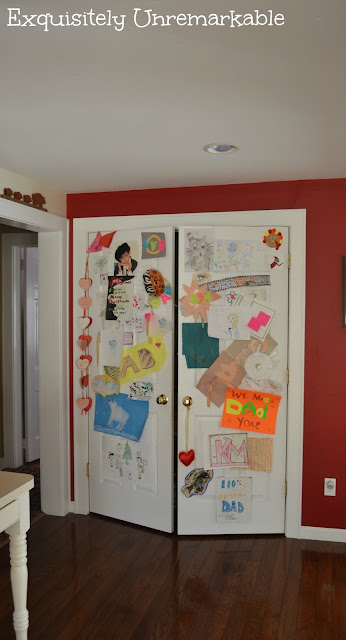Pantry Doors covered with children's artwork