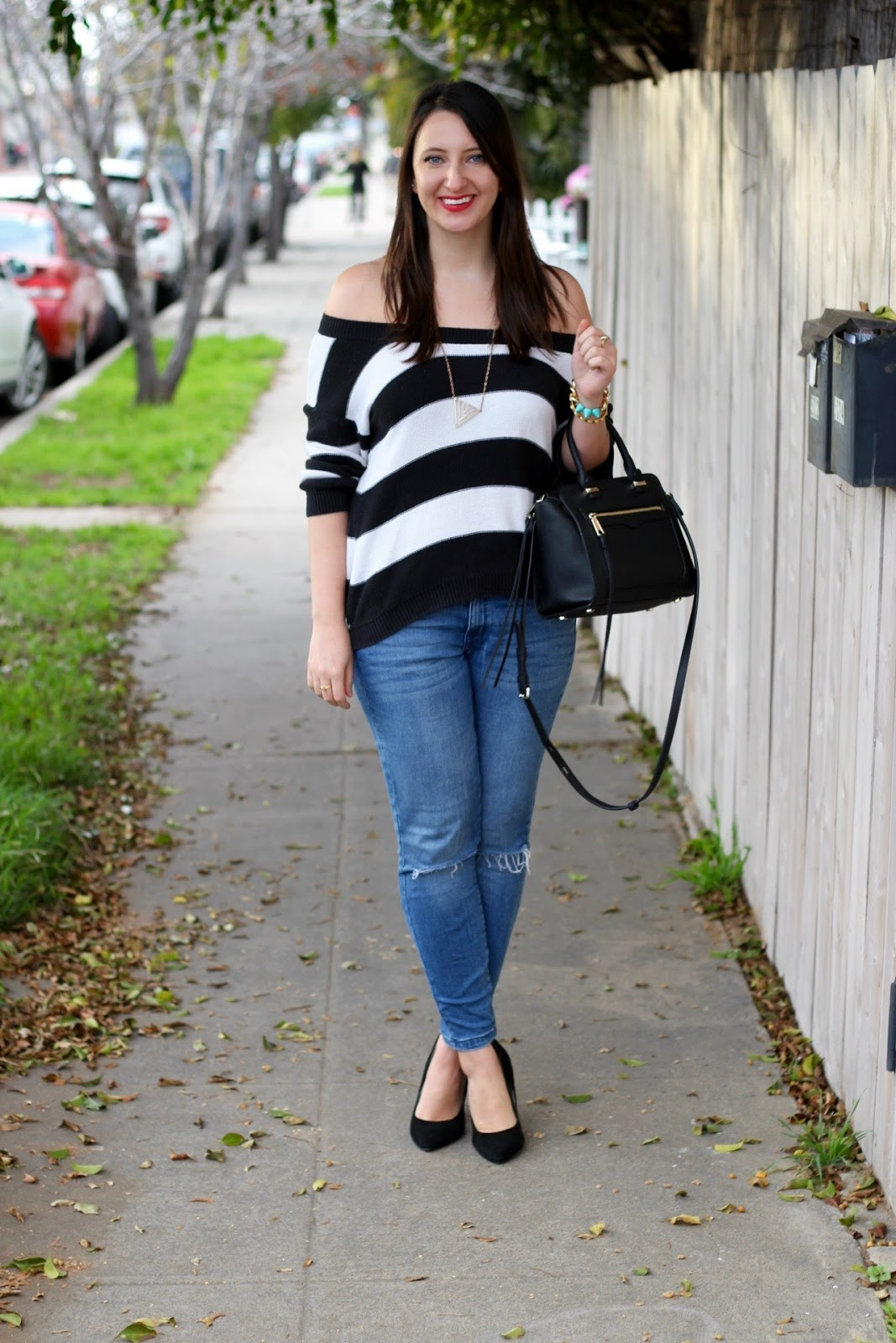 LunaVida: Hyped For Striped: Off-the-Shoulder Sweater   Ripped ...