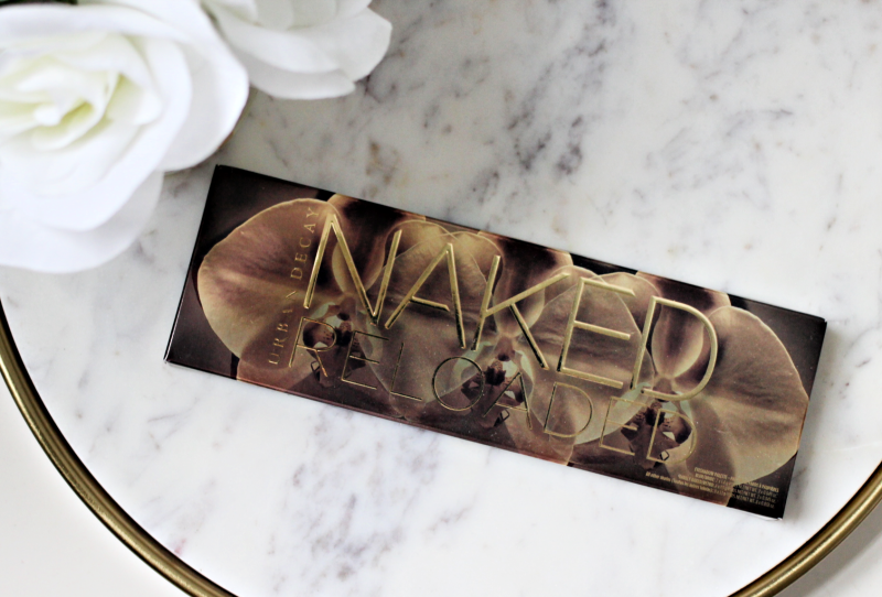 the Naked Reloaded Palette on a white marble tray