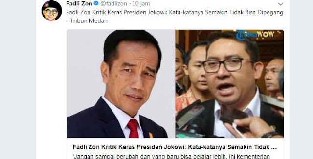 Kritik Keras Jokowi, Fadli Zon: Kata-katanya Semakin Tidak Bisa Dipegang
