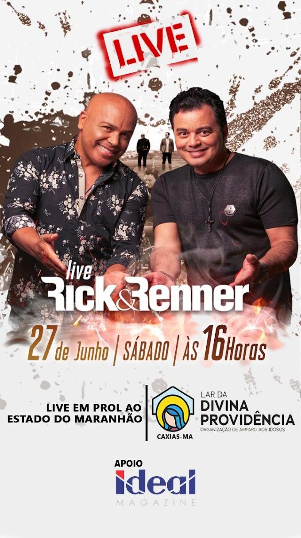 Com apoio da Ideal Magazine de Pedreiras live benefecinte de Rick & Renner