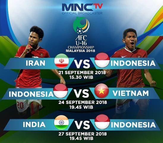 Jadwal Timnas U-16 Piala Asia 2018 Malaysia