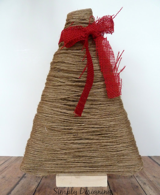 Jute Wrapped Christmas Tree (using a 69 cent yard stick as the base of this!) super easy and super cute!  #christmas #christmastree #holiday #jute #winter #christmascraft | from Simply Designing