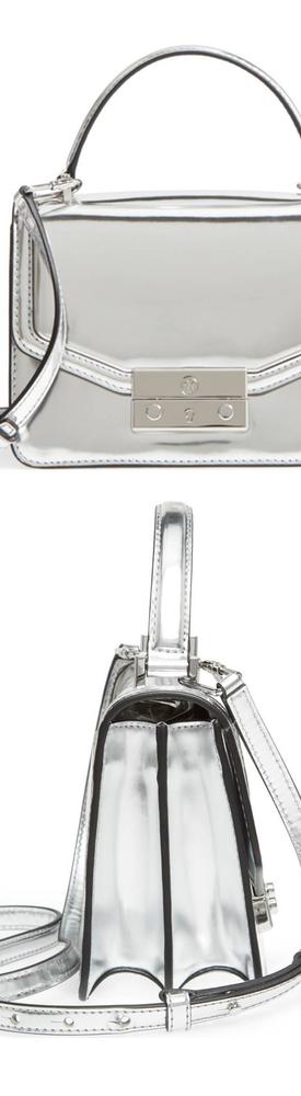 TORY BURCH Mini Juliette Metallic Leather Top Handle Satchel