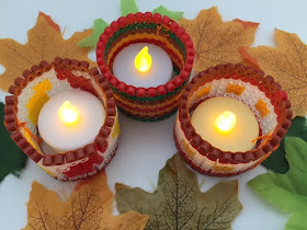 Hama bead candle holders with an Autumn theme