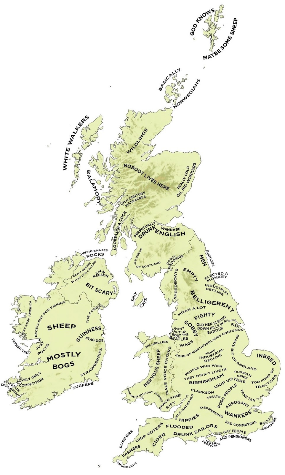 Stereotype map of Britain & Ireland